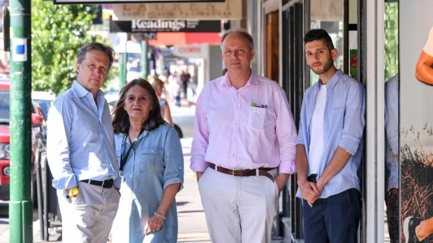 Owners and managers of Glenferrie Road businesses (left to right) Dave Desson of Debonaire Dry Cleaners, Desiree ...