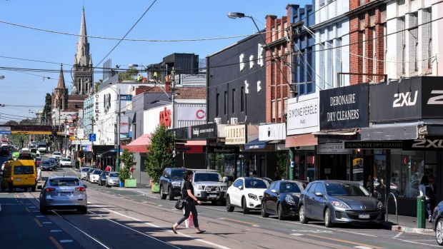 The shopping strip on Glenferrie Road where there have been 11 blackouts so far this year.
