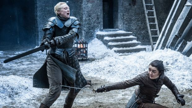 Gwendoline Christie (left) as Brienne of Tarth in Game of Thrones.