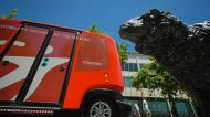 A driverless shuttle was trialled in Civic on Thursday.