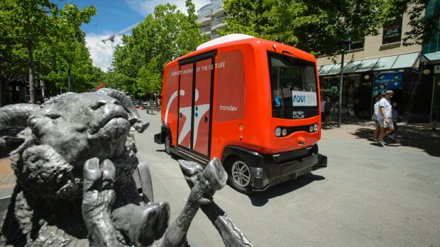 A driverless shuttle, trialled in the city on Thursday.