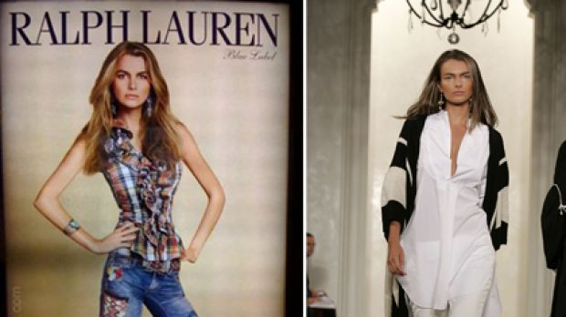'Overweight' ... the digitally altered Ralph Lauren photo, left, and Filippa Hamilton on the runway for the fashion ...