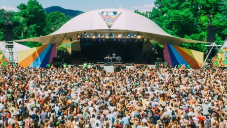 Spilt Milk festival goers watch electronic duo Vallis Alps on Saturday.