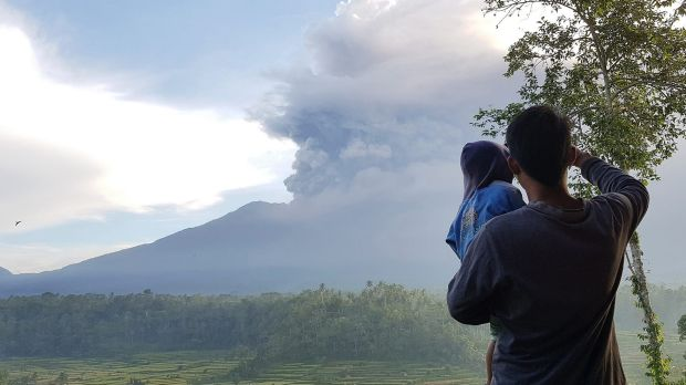 The ash cloud from Mt Agung on Sunday morning.