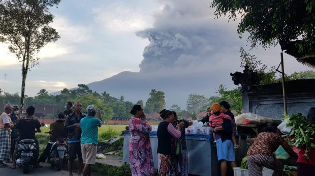 Locals in Rendang, 14 kilometres from the summit of Mount Agung.