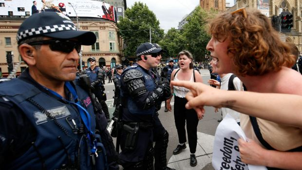 Rare sight? Pro-refugee protesters clash with police in Melbourne last week.