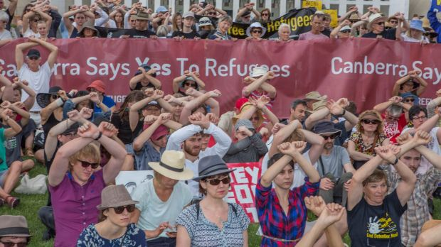 Protesters take to Parliament House over Manus Island detainees