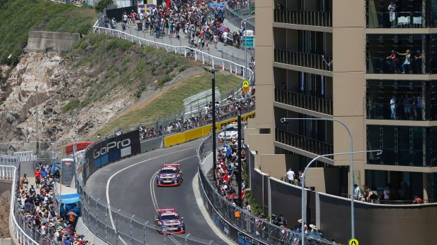 Street racers: Red Bull Holden Racing Team drivers Shane van Gisbergen and Jamie Whincup on the Newcastle circuit for ...