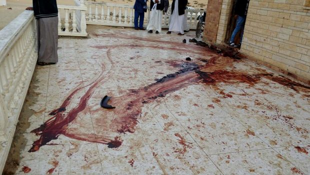 A blood trail on the veranda of al-Rawdah Mosque in Bir al-Abd northern Sinai after Friday's attack.