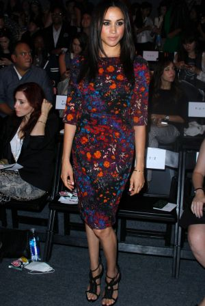 Meghan Markle appears in the front row at Tracy Reese during the MBFW Spring/Summer 2014 presentations at Lincoln Center ...