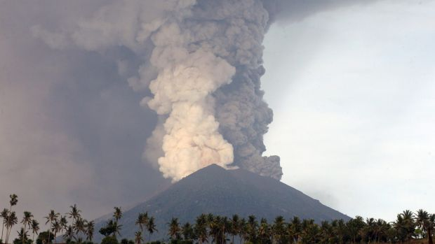 The Mount Agung volcano on Monday.