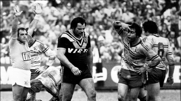 Cut from a different Sloth: Manly's Max Krilich gives Bruce Gibbs a gobful as the Wests prop is sent off at Brookvale ...