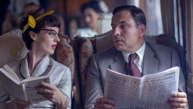 Jessica Raine (as Tuppence Beresford) and David Walliams (as Tommy Beresford) in Agatha Christie's Partners In Crime.