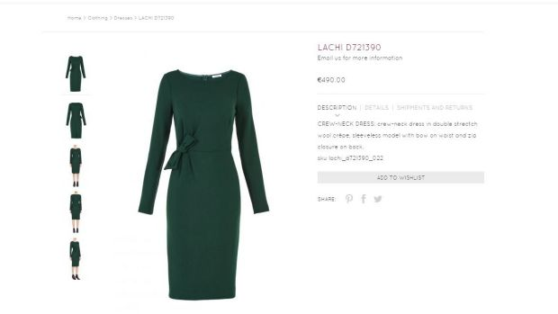 Click frenzy ... the web page for the Parosh dress worn by Meghan Markle for the announcement of her engagement to ...