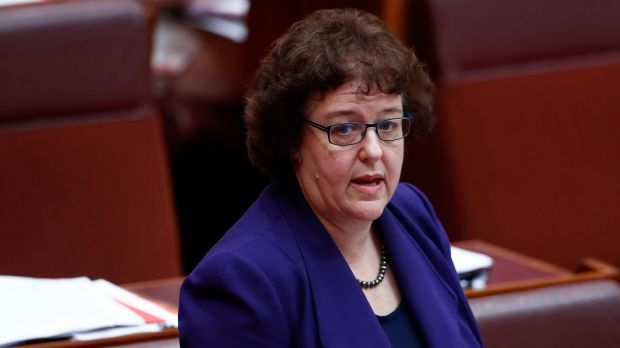 Labor senator Jacinta Collins during debate on the Marriage Amendment Bill in the Senate on Tuesday.