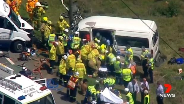 The scene of the crash at Kemps Creek in Sydney's west on Tuesday afternoon.
