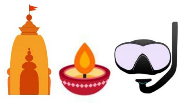 Suggested representations for a Hindu temple, oil lamp and snorkel mask emoji, which have been added to a draft lift of ...