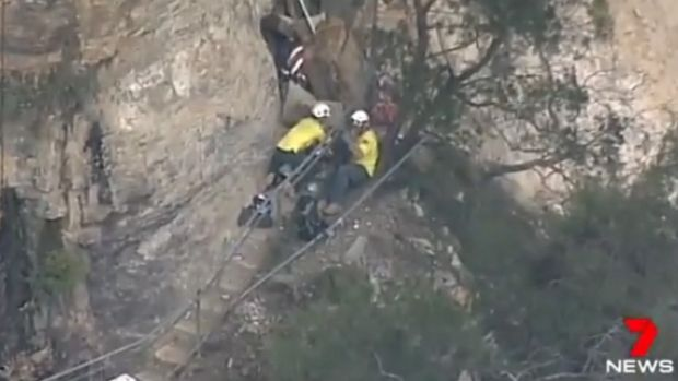 A man has died and two others are trapped after an accident at Wentworth Falls.  Photo: Seven News