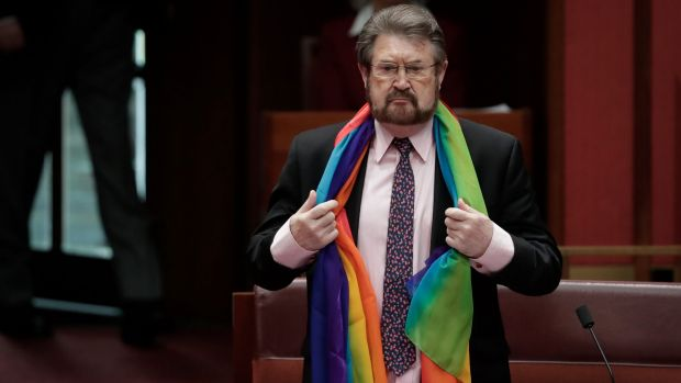 Derryn Hinch was asked by Liberal senator Ian Macdonald to remove his rainbow scarf.