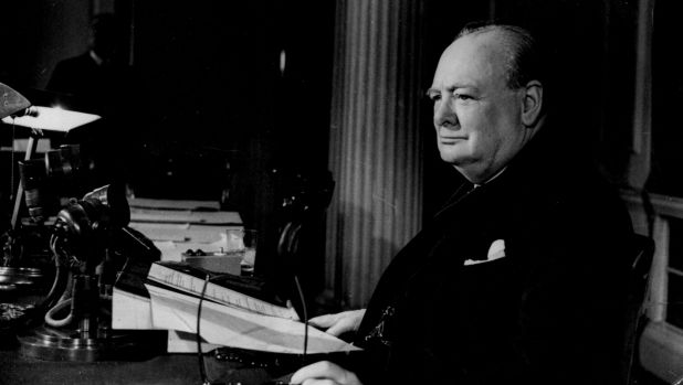 Then British Prime Minister Winston Churchill on the radio after broadcasting that the war with Germany had been won.