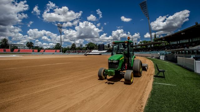 The Manuka Oval turf is being removed and resurfaced.