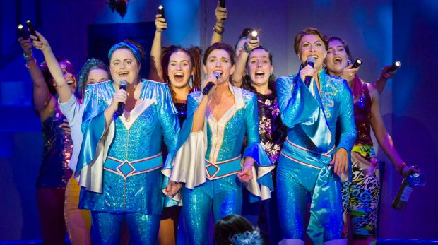 Natalie O'Donnell (middle) with the cast of <i>Mamma Mia!</i>