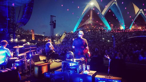 Jack Johnson performs at the Sydney Opera House forecourt on November 30.