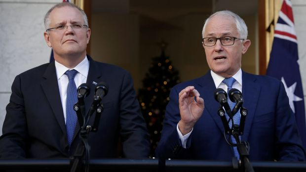 Change the track: Treasurer Scott Morrison and Prime Minister Malcolm Turnbull.