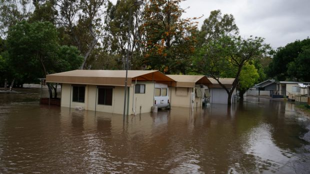 Euroa Caravan Park flooded after storms on Saturday.