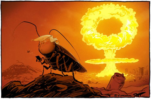 The Canberra Times?editorial cartoon for Monday, December 4, 2017. Donald Trump as cockroach, Twitter, nuclear war