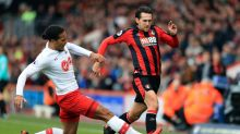 Southampton's Virgil van Dijk, left and Bournemouth's Charlie Daniels battle for the ball, during the English Premier ...