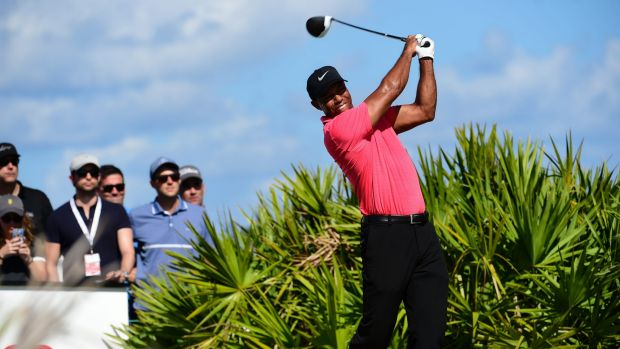 Tiger Woods tees off on the third hole during the final round of the Hero World Challenge.