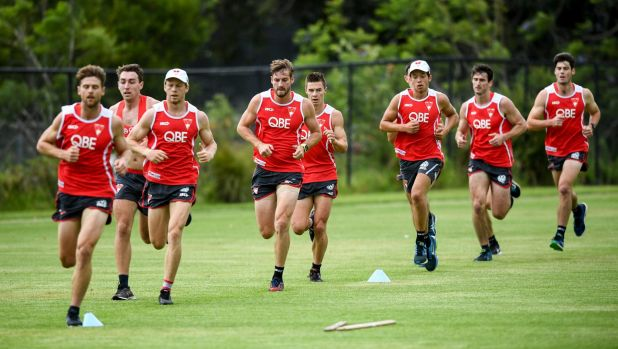 Young blokes: Young Swans are working harder at pre-season training than the core group of veterans.