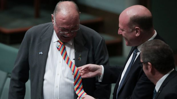 Liberal MP Trent Zimmerman looks at the rainbow tie of Warren Entsch during debate on the marriage bill on Monday.