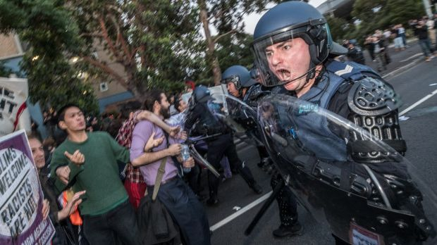 Violent clashes erupted outside the event.