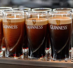 Pints settling at the Guinness museum in Dublin.