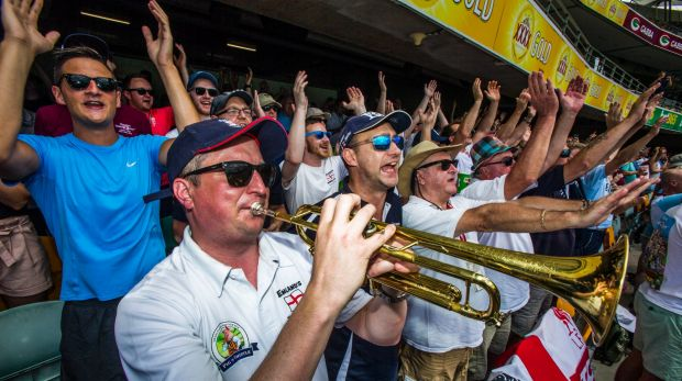 The Barmy Army in full song in Brisbane.