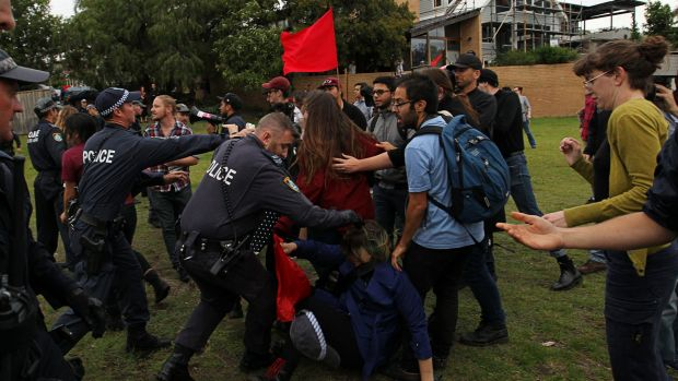 Supporters of Milo Yiannopoulos clash with left-wing protesters in Lilyfield, Sydney.