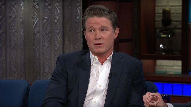 Billy Bush discusses the infamous Trump Access Hollywood tape on Colbert's late show.