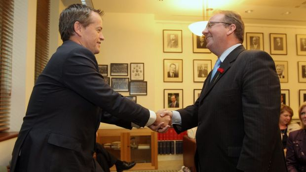 Happier times: Opposition Leader Bill Shorten congratulates David Feeney at the Labor caucus.