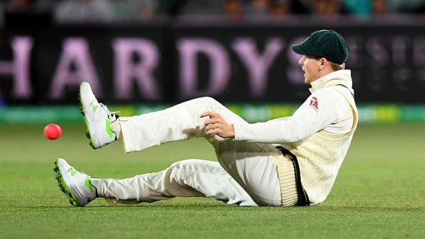 A disappointed Steve Smith after dropping Dawid Malan.