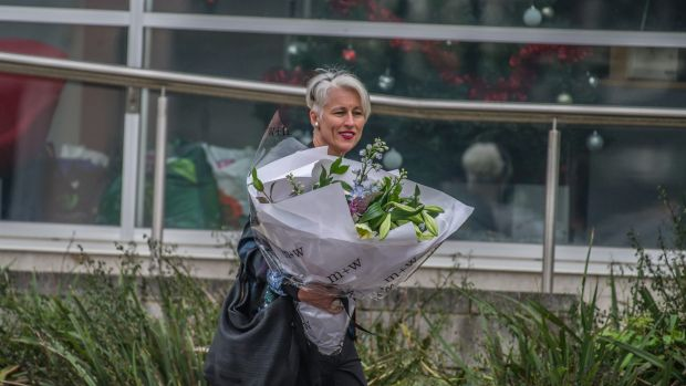 ABC Radio Canberra announcer Genevieve Jacobs leaving ABC headquarters in Wakefield Avenue, Dickson on Wednesday after ...