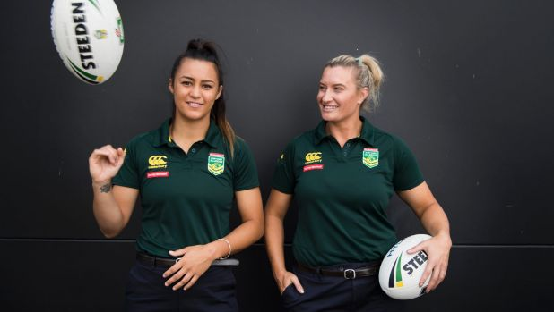 A whole different league: Jillaroos stars Corban McGregor and Ruan Sims at the announcement of a six-team women's league ...
