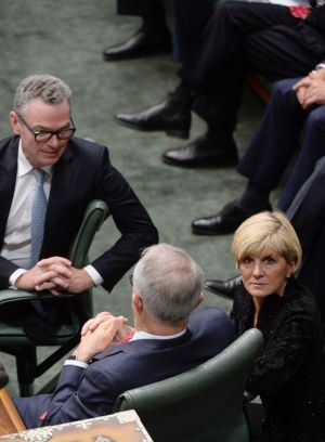 Christopher Pyne, Malcolm Turnbull and Julie Bishop during the citizenship debate in the House of Representatives on ...