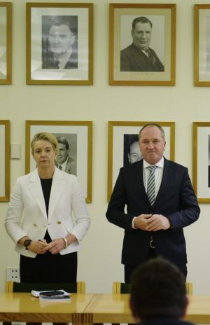 The new deputy leader of the National Party, Bridget McKenzie, and the Nationals leader, Barnaby Joyce, in the National ...