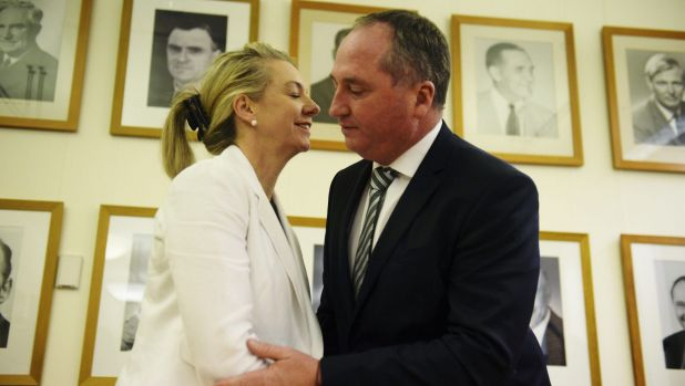 Deputy Prime Minister Barnaby Joyce congratulates Bridget McKenzie on her election as deputy Nationals leader last year.