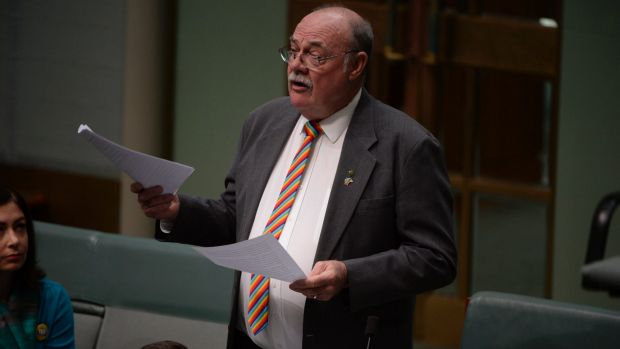 LNP MP Warren Entsch speaks on same-sex marriage in the House of Representatives on Thursday.