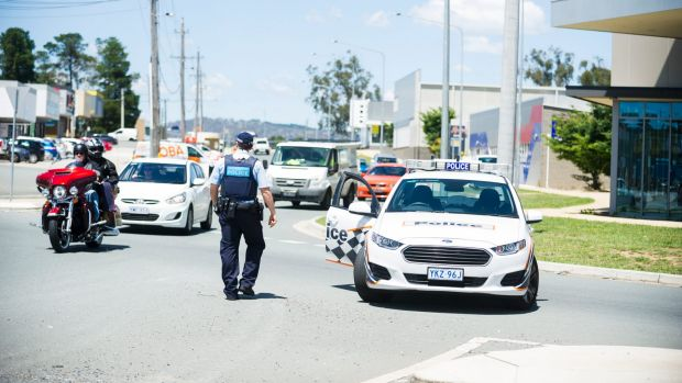 Police block off roads as they investigate an incident in Fyshwick.