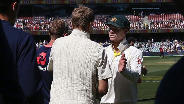 Root shakes hands with Australian skipper Steve Smith after the second Test.