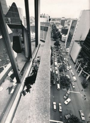 The 11th floor window of the Australian Post Headquarters where the gunman, Frank Vitkovic, jumped to his death.